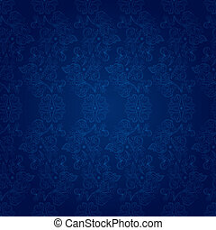 Vintage floral seamless pattern on blue. Vector background