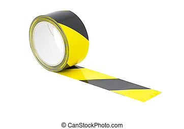 Roll of yellow and black caution tape