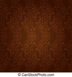 Vintage floral seamless pattern on brown. Vector background