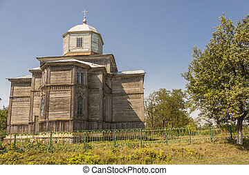Old wooden orthodoxy church in Pobirka village near Uman -...