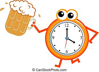 beer time - Cartoon clock man holding a pint of beer...