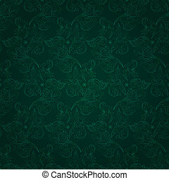 Vintage floral seamless pattern on green Vector background