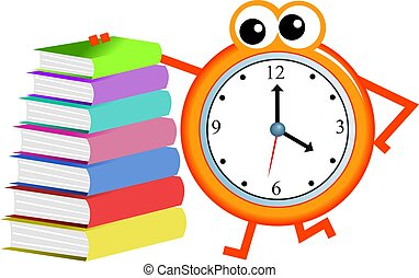book time - Cartoon clock man with a stack of books isolated...