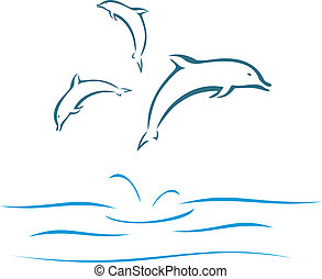 Dolphins swimming and jumping out of the water in sea