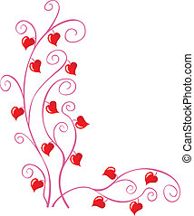 Floral corner - Floral pattern with little hearts for...