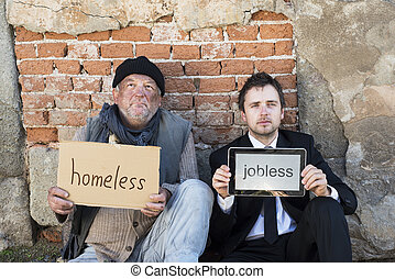 Homeless men are begging on the street.