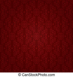 Vintage floral seamless pattern on red. Vector background
