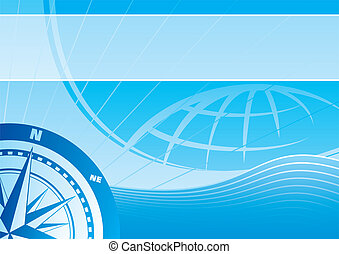 Blue travel background - Blue vector background with a...