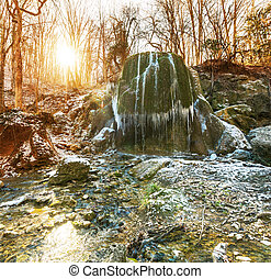 Waterfall in forest - Waterfall in spring forest