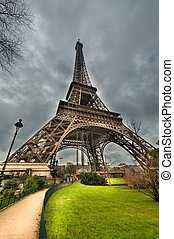 Magnificence of Eiffel Tower, view of powerful landmark structure, Paris - France