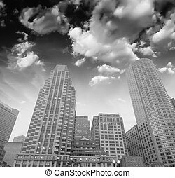 Beautiful black and white view of Boston buildings from...