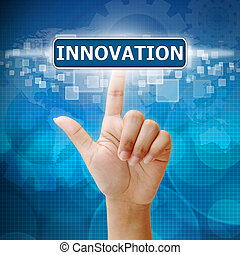 mano, prensa, innovación, botón