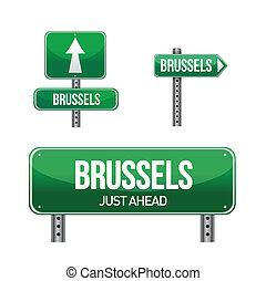 brussels city road sign illustration design over white