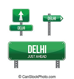 delhi city road sign illustration design over white