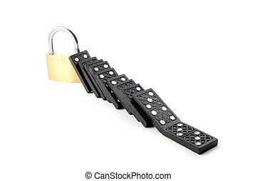 domino security - some dominos and a padlock for security...