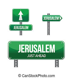 jerusalem city road sign illustration design over white