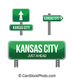 kansas city road sign illustration design over white