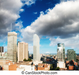 Wonderful skyscrapers of Montreal - Canada, aerial view