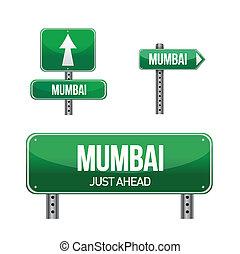 mumbai city road sign illustration design over white