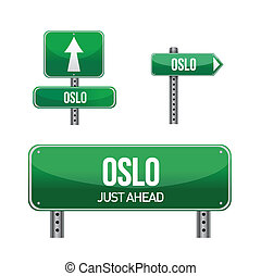 oslo city road sign illustration design over white