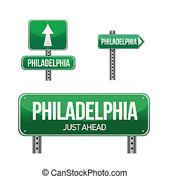 philadelphia city road sign illustration design over white