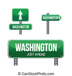 washington city road sign illustration design over white