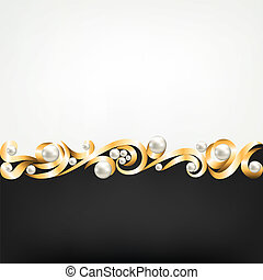 gold jewelry frame and pearls - Background with gold jewelry...