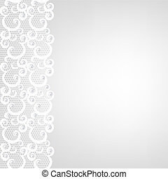 lace border and pearls - Wedding invitation ar greeting card...