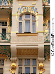 ornamental building in Art Deco stylePrague, Czech Republic...