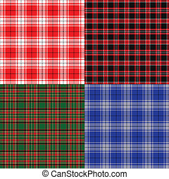 Tartan set - Checkered fabric seamless background. Tartan...