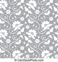 floral lace pattern - Seamless white floral lace pattern on...