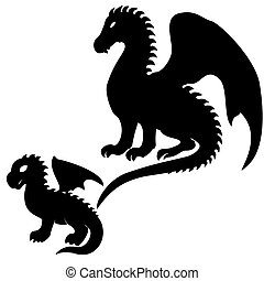Adult and baby dragon silhouettes - Set of adult and baby...
