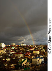 rainbow under the town