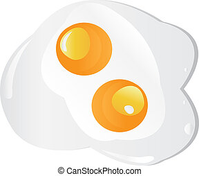 Fried egg twins on a white background. Vector - Fried egg...