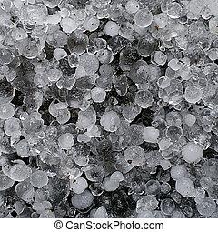Hail, hailstones - frozen ice macro - Taken over tarmac