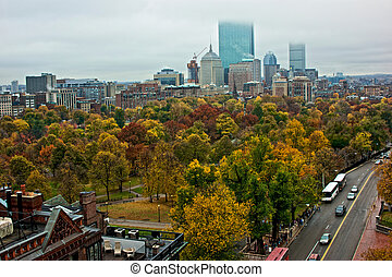 rainy day in boston - overlooking the city of boston on a...