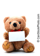 teddy - toy teddy bear with blank sheet isolated on white...