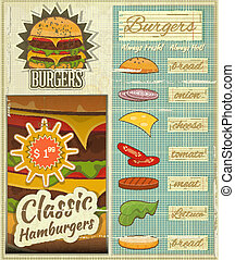 Burgers Menu Set Retro - Retro Design of Burgers Menu, Big...