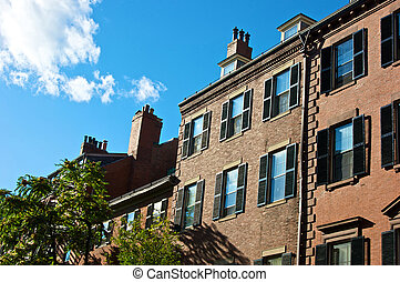 boston afternoon - old boston row houses and brownstones on...
