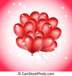 heart balloons with stars