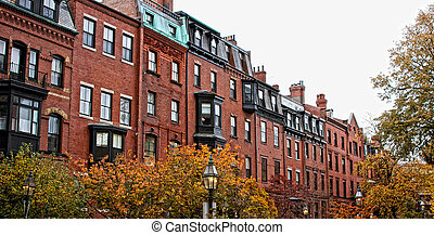 boston row houses - brick beacon hill boston rowhouses on a...