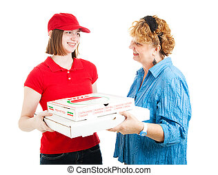 Pizza Home Delivery on White - Woman receiving delivery of...