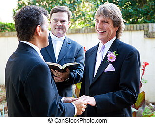 Gay Couple Exchanges Wedding Vows - Gay couple exchanging...