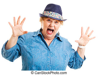 Middle-aged Woman - Fear - Portrait of a middle aged woman...