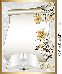 Wedding card with floral pattern and book