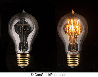 One glowing light bulb amongst other light bulbs