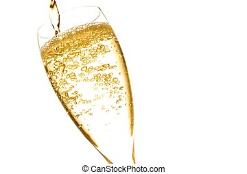 champagne flute with golden fine bubbles on white background