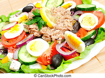 Salad with tuna - Plate with vegetable salad and tuna