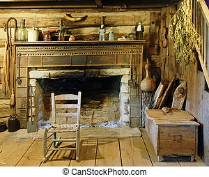 Country Hearth - Interior view of an interior fireplace and...