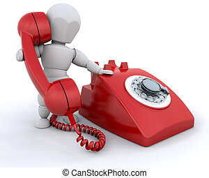 On the phone - Person talking on retro styled telephone